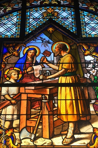 obraz dibond Stained glass depicting bible scene