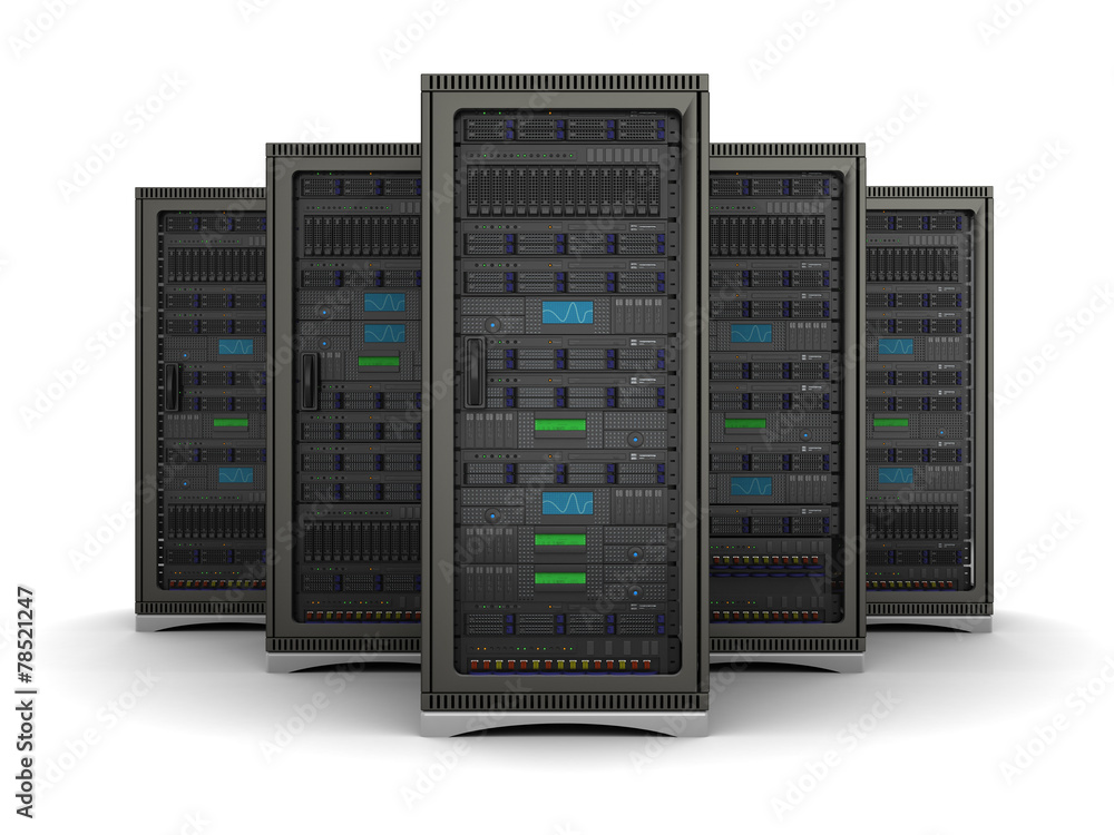 Fototapeta 3d illustration of row the server racks