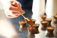Preparation Handmade Chocolate Candies, Close Up