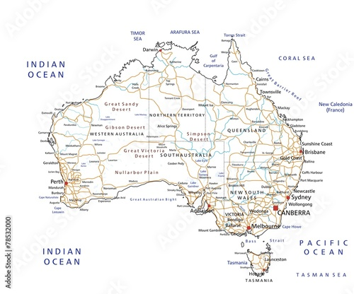East Coast Australia Road Map.High Detailed Australia Road Map With Labeling Buy This Stock