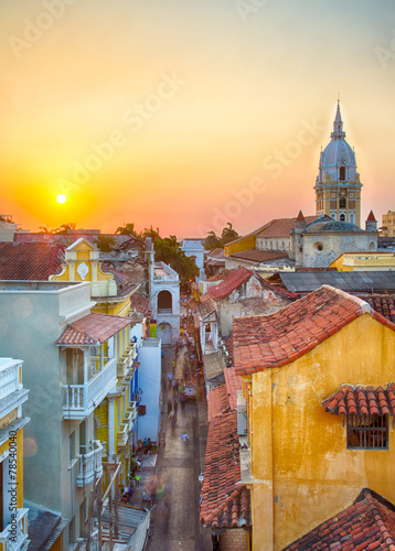Poster South America Country Sunset over Cartagena