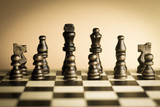Wooden chess set vintage sepia monochromatic.