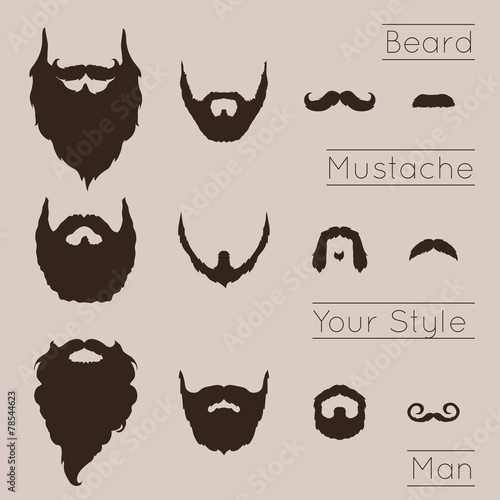 Canvas Print Beards and Mustaches set
