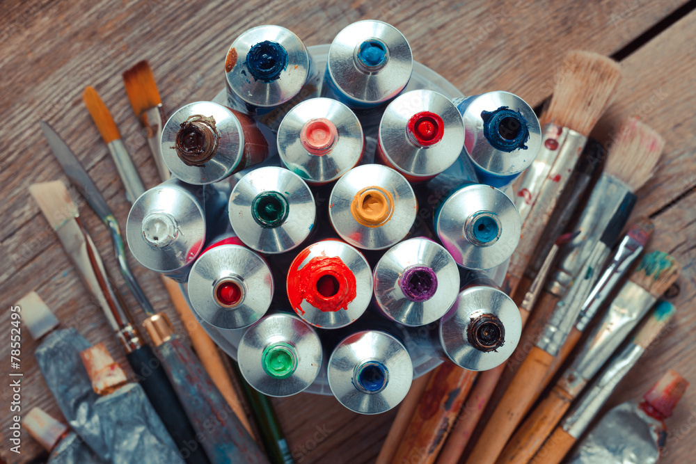 Fototapety, obrazy: Vintage stylized photo of oil multicolor paint tubes closeup and