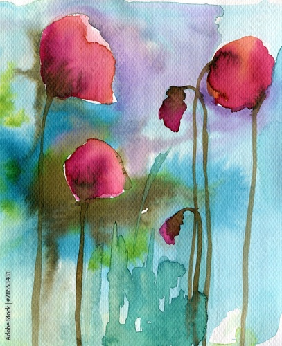 Photo sur Aluminium Inspiration painterly cover, poppies, red