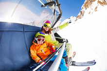 Mom With Boy On Ski Lift Ropew...