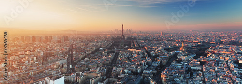 Spoed Foto op Canvas Panoramafoto s Panorama of Paris at sunset