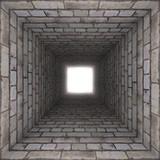 Fototapeta Do przedpokoju - brick wall tunnel
