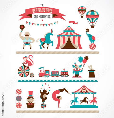 Fototapeta vintage huge circus collection with carnival, fun fair, vector