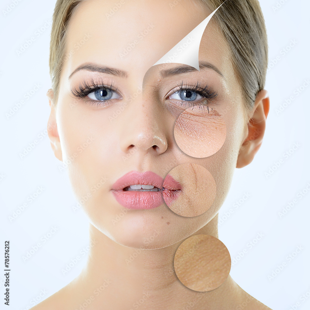Fototapeta anti-aging concept, portrait of beautiful woman with problem and