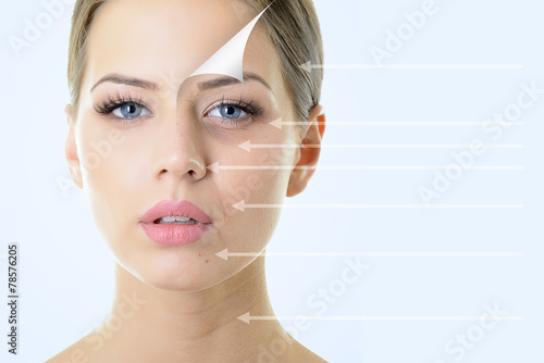 Fotografía  anti-aging concept, portrait of beautiful woman with problem and