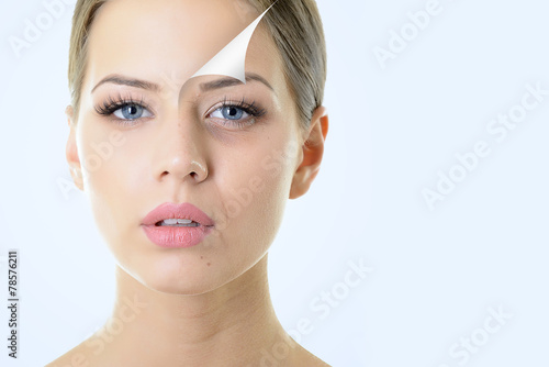 anti-aging concept, portrait of beautiful woman with problem and Canvas Print