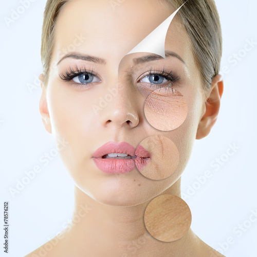 Fototapeta anti-aging concept, portrait of beautiful woman with problem and obraz