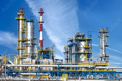 Poster Industrial geb. Petrochemical plant, oil refinery factory.