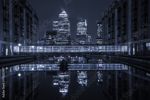 London modern finance district in downtown iluminated at night.