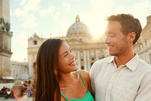 Romantic Couple Lovers At Sunset In Vatican, Italy