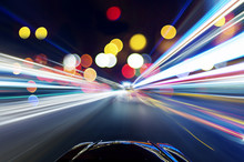 Car On The Road With Motion Blur Background