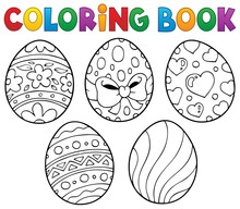 Coloring Book Easter Eggs Theme 1