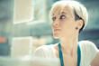 Leinwanddruck Bild - beautiful young blonde short hair hipster woman
