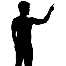 Silhouette Business Man With Hand Pointing, Vector Format