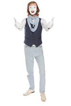 Astonished Mime Actor Raising Thumbs Up