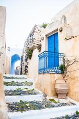 Panel Szklany Podświetlane Schody Old street in Pyrgos village