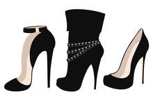Set Of Fashionable Black High Heel Shoes