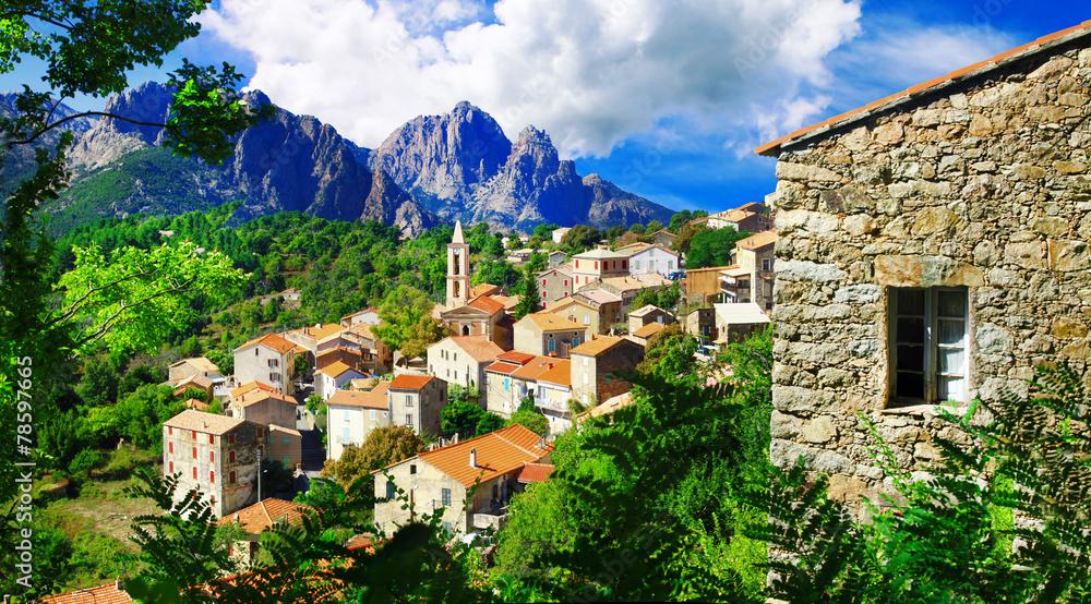 Fototapeta stunning mountain villages of Corsica - Evisa