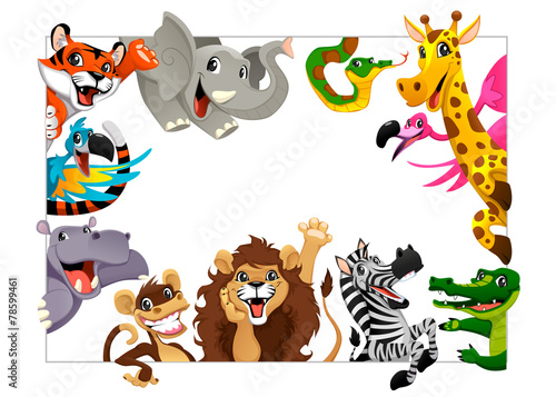 Poster Chambre d enfant Funny group of Jungle animals