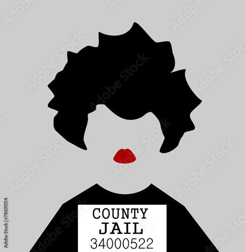 Fotografia, Obraz  mug shot of woman in jail