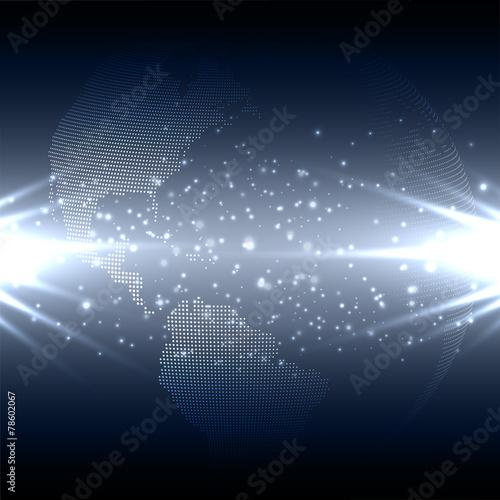 Fototapeta Abstract technology background with world globe, dark design obraz na płótnie