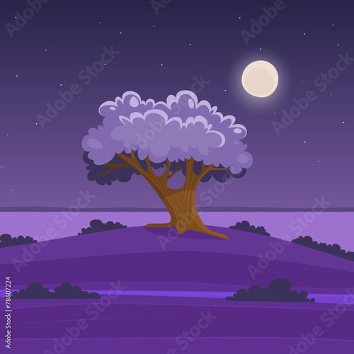 Spoed Foto op Canvas Violet Night cartoon landscape