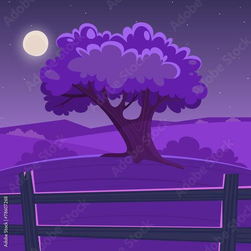 Spoed Foto op Canvas Violet Cartoon Landscape