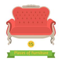 Furniture, Antique Sofa Baroque, Flat Design