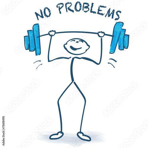 Strichmännchen mit mit Gewichtheben und keine Probleme Stock-Vektorgrafik | Adobe Stock