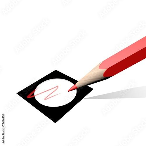Fototapeta Stemmen met het rode potlood