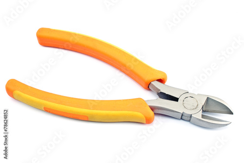 Wire cutter  pliers isolated on white Canvas Print