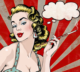 Pop Art  woman with the speech bubble and cigarette.
