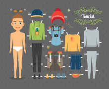 Tourist Boy Paper Doll With Clothes And Shoes