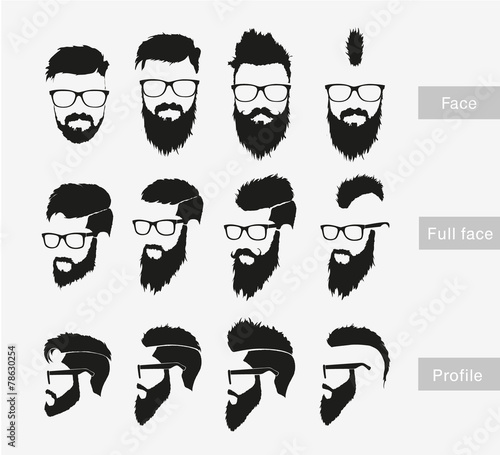 hairstyles with a beard in the face, full face and profile Tableau sur Toile