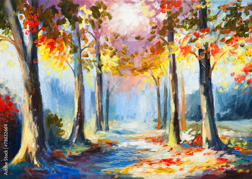 oil painting - colorful spring landscape, road in the forest, ab