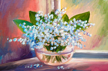 Oil Painting Of Spring Lily Of...