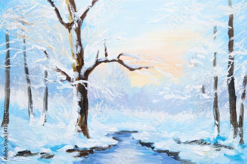 Printed kitchen splashbacks Light blue oil painting winter landscape, frozen river in the forest, color
