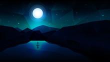 Geometric Night Landscape Scen...