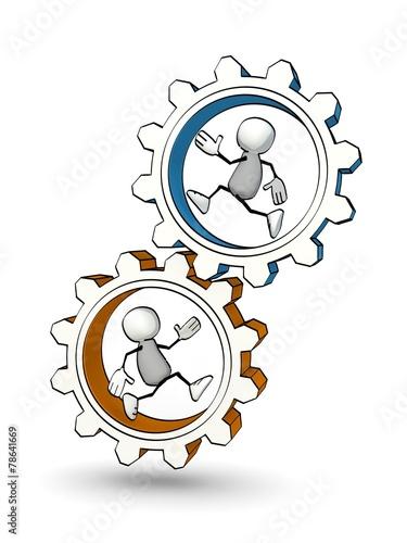 Fotografie, Obraz  little sketchy men running in two gears