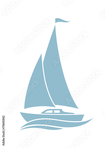Fotografie, Obraz  Sailboat vector icon on white background