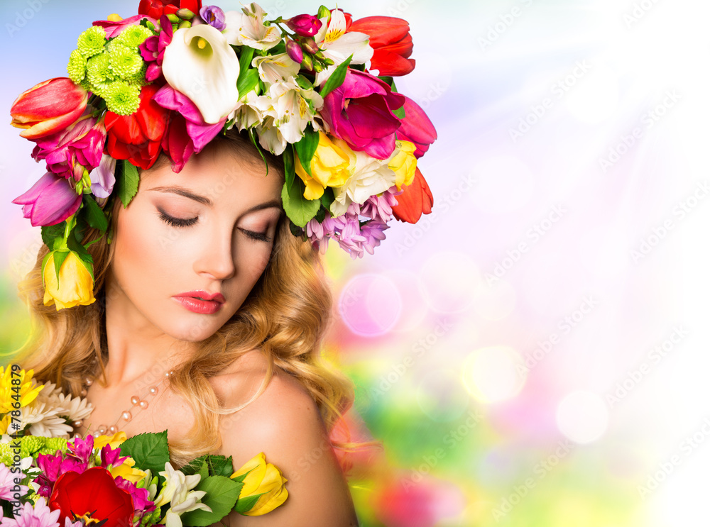 Fototapeta Spring portrait. Beauty hairstyle with flowers