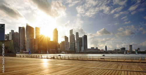 CBD of Singapore at sunset