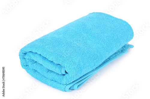 Fotografie, Obraz  Blue towel isolated on white background