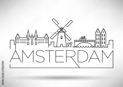 Photo  Amsterdam City Line Silhouette Typographic Design